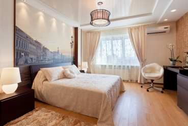 Натяжной потолок в спальню 20 м2
